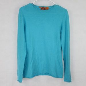 Tory Burch Size Small Blue Cotton Cashmere Sweater